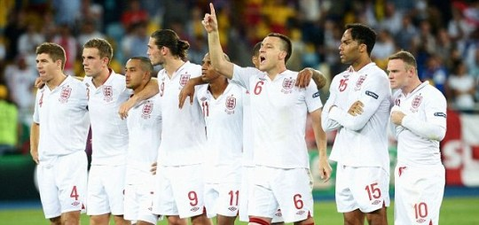 John Terry of England (C) lines up with team-mates