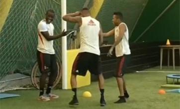 Robinho and Kevin-Prince Boateng work on disco training routine