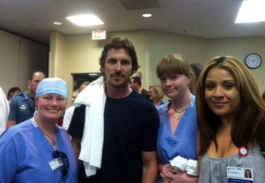 Christian Bale surprised staff and patients at the Aurora Medical Centre with his visit