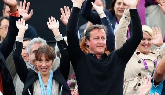 David Cameron his wife Samantha, Mexican Wave.