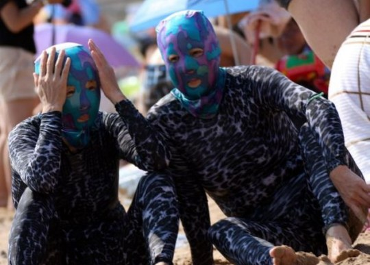 Face-kini, beach, China, Shandong