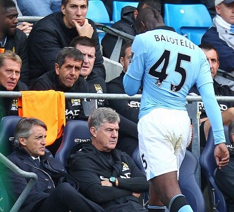 Manchester City's Mario Balotelli, substituted, budget airline.