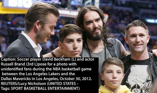 Robbie Keane, David Beckham, Russell Brand.
