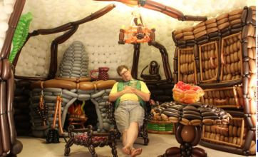 Lord of the Rings fan builds life-size Hobbit hole out of 2,600 balloons