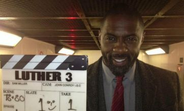 Idris Elba pictured on set as Luther series three image released by BBC