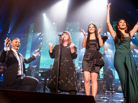 Gary Barlow sings with Dawn French and X Factor judges for Text Santa