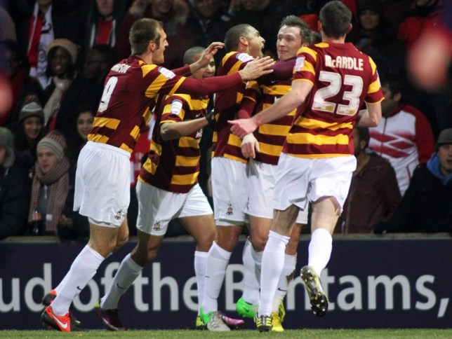 League Two Bradford settled for beating Arsenal on penalties after Thomas Vermaelen headed a late equaliser in normal time (Picture: Getty)