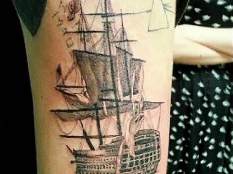 Harry Styles adds a sailing ship to eclectic tattoo collection