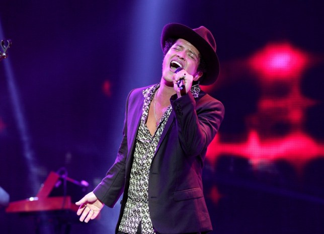 You sexy thing: Bruno mars on stage. Pic: Yui Mok/PA Wire