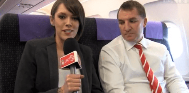 Glance: Brendan Rodgers takes a look down the presenter's top (Picture: YouTube)