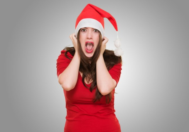 Woman stressed out by Christmas