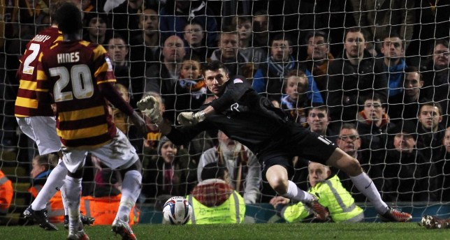 Stopper: Matt Duke has been key to Bradford's brilliant run (Picture: Action Images)