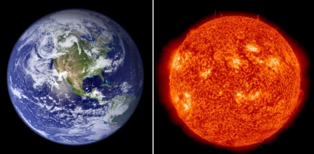 This combination image shows a 2007 NASA file photo of the Earth(L) and a January 2, 2013 NASA/SDO(Solar Dynamics Observatory) handout image of the Sun taken at 18:15 UT. At 04:37 UTC today (11:37 p.m. Eastern US time