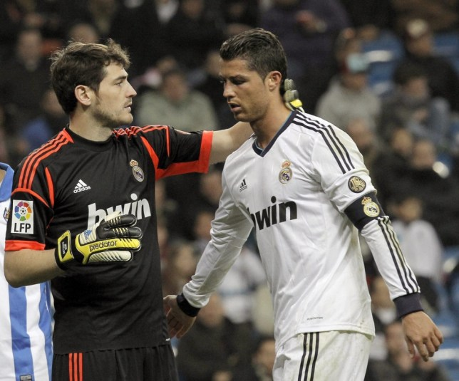 Real Madrid's Portuguese striker Cristiano Ronaldo and Iker Casillas