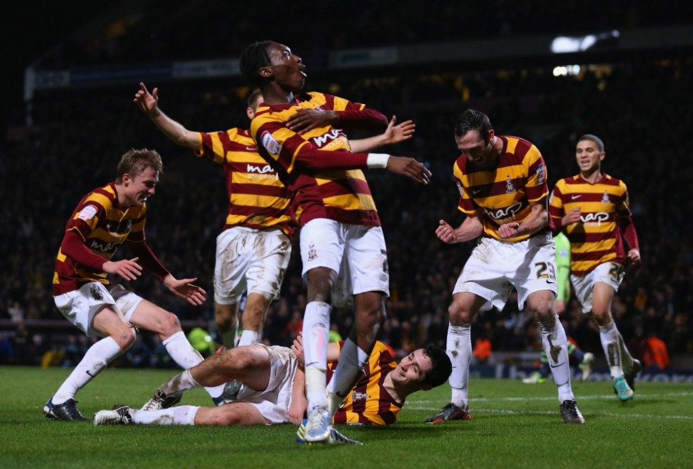 Bradford shocked their Premier League opponents by hitting three goals past them at Valley Parade (Picture: Getty)
