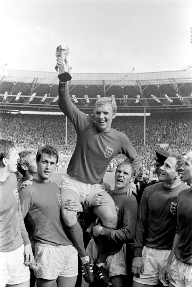 The pinnacle: Bobby Moore lifts the Jules Rimet trophy at Wembley in 1966