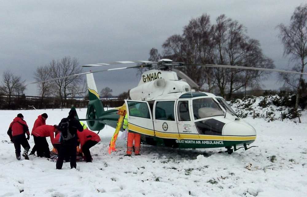 Helicopter rescue after sledging accident in North Yorkshire