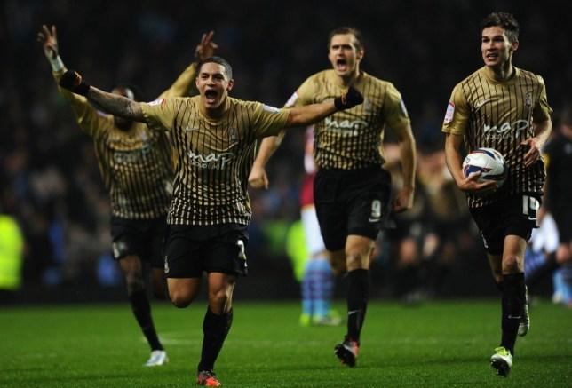 Nahki Wells of Bradford City and his team-mates celebrate
