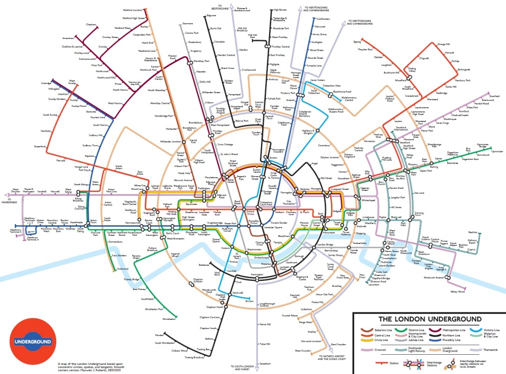 Concentric London Underground map