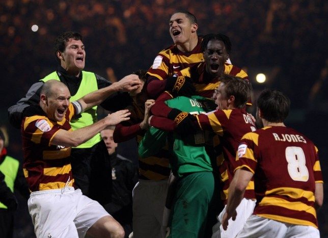 Bradford claimed a famous victory over Arsenal en route to the Capital One Cup semi-final (Picture: Daily Mail)