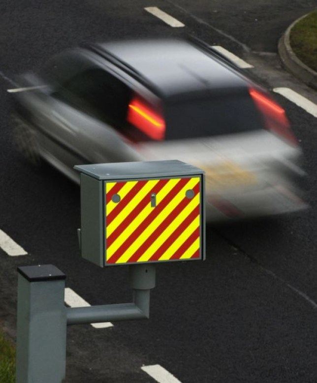A car passing a speed camera