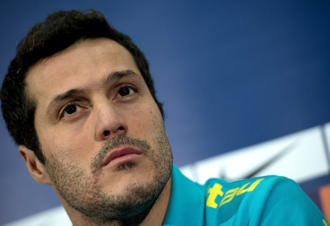 Unhappy snappy: Julio Cesar (Picture: AFP/Getty Images)