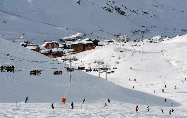 Skiers enjoy the ski runs on December 19, 2012, the French Alps resort of Val Thorens.