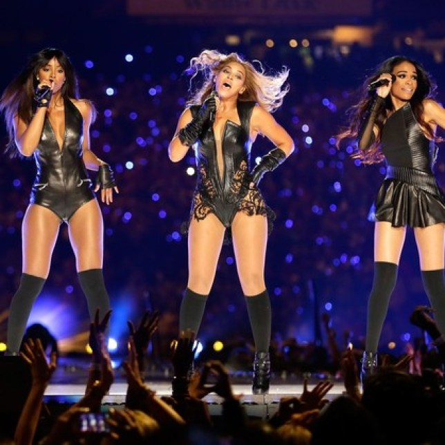 Beyonce, Kelly Rowland and Michelle Williams perform at the Super Bowl half time show