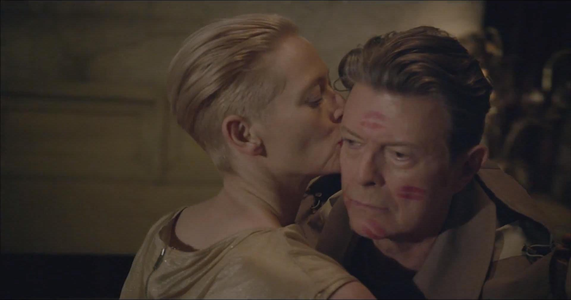 Tilda Swinton plants a kiss on David Bowie in The Stars (Are Out Tonight) video  (Picture: ISO Records)