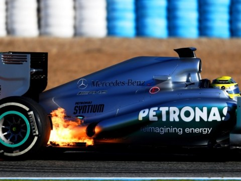 Nico Rosberg's Mercedes bursts into flames during first day of F1 testing