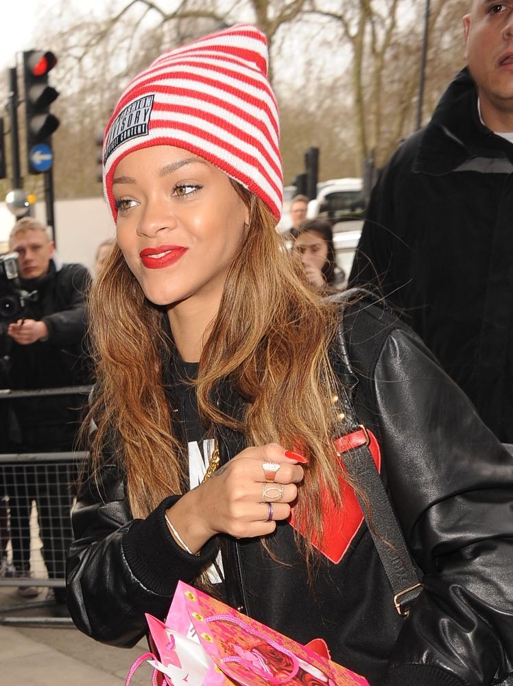 Rihanna wears Chris Brown's leather jacket ahead of London Fashion Week debut