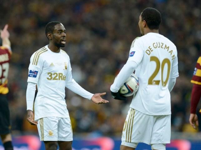 Swansea City's Nathan Dyer complains to Jonathan de Guzman
