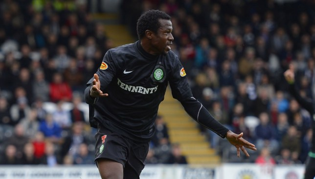 Celtic's Efe Ambrose celebrates his goal against St. Mirren duri