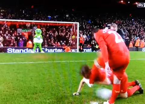 Robbie Fowler kicks John Bishop in the face as penalty prank goes wrong