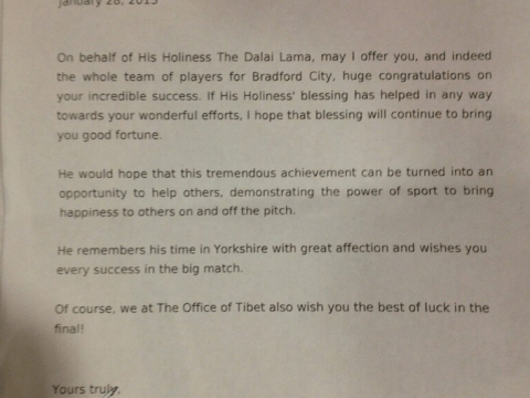 Dalai Lama sends Bradford City 'good luck' letter ahead of Capital One Cup final