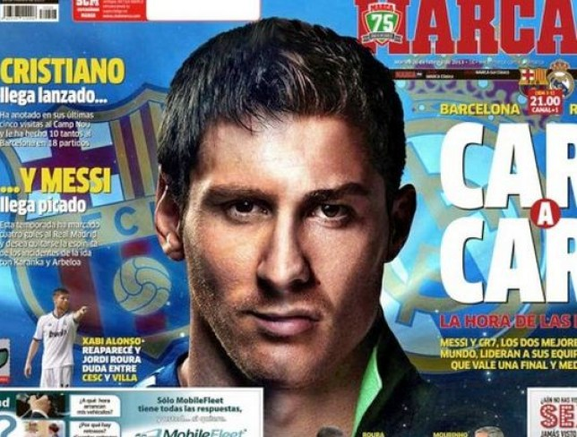 Defenders nightmare: Lionel Messi and Crtiano Ronaldo have been merged together on the front cover of Marca