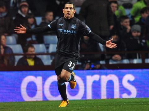 Carlos Tevez strike ensures Manchester City keep sight of Premier League pinnacle
