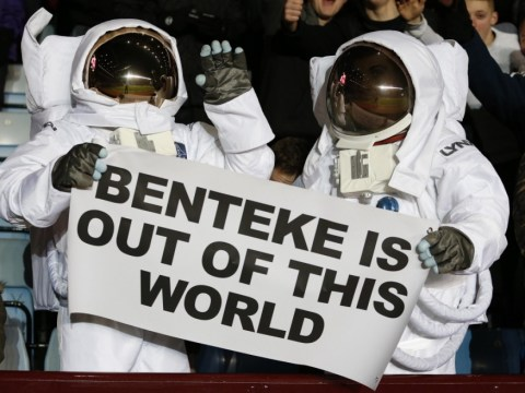 One small step for fans as Aston Villa supporters watch Manchester City tie dressed as astronauts