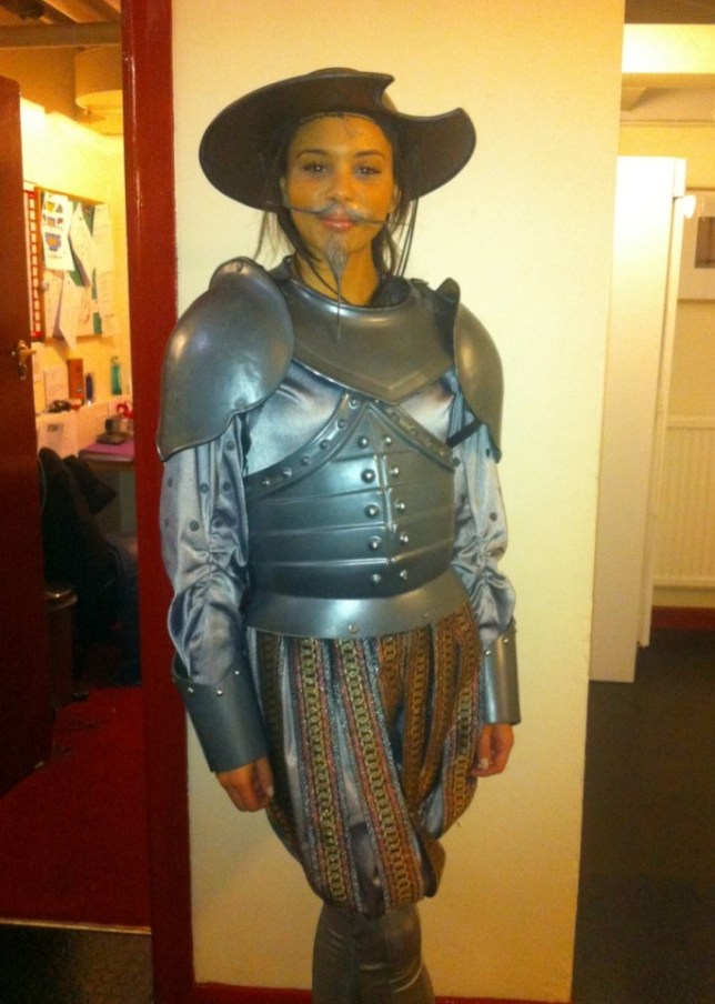 Trading the boards: Louise Hazel as 'Sir Not Appearing' in Spamalot yesterday