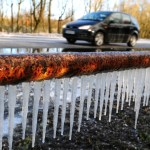 Icicles on the side of a road in South Derbyshire as large parts of the UK continue to experience winter weather conditions.(Picture: Rui Vieira/PA Wire)