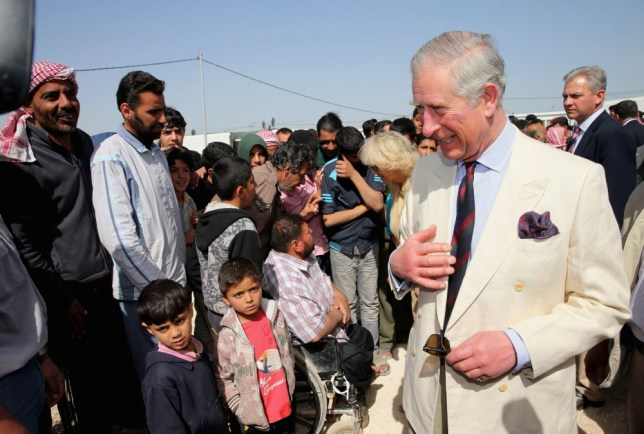 Prince Charles, The Prince of Wales meets Syrian Refugees in the King Abdullah Refugee Camp on the Syrian border during his tour of the country in Amman, Jordan. PRESS ASSOCIATION Photo. Picture date: Wednesday March 13, 2013. The Royal couple are on the first leg of a tour of the Middle East taking in Qatar, Saudi Arabia and Oman. See PA story ROYAL Jordan. Photo credit should read: Chris Jackson/PA Wire