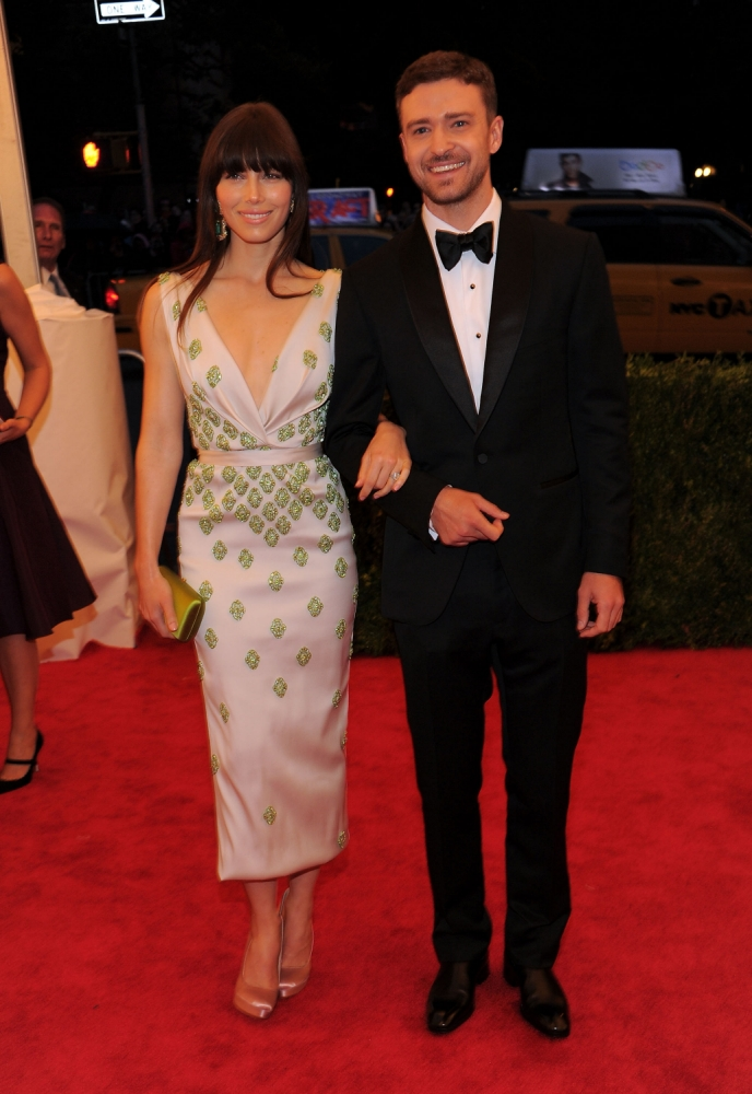 "NEW YORK, NY - MAY 07:  Jessica Biel and Justin Timberlake attend the ""Schiaparelli And Prada: Impossible Conversations"" Costume Institute Gala at the Metropolitan Museum of Art on May 7, 2012 in New York City.  (Photo by Larry Busacca/Getty Images)"