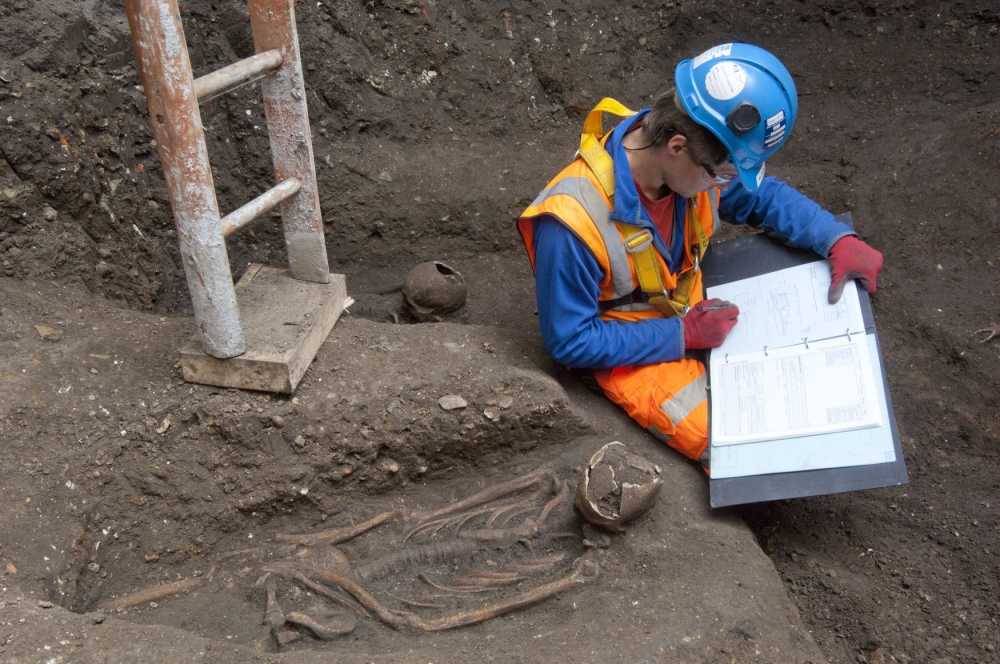 Carefully laid out skeletons thought to be from a 14th century burial ground that have been were discovered during work on the £14.8 billion Crossrail project. (Picture: Crossrail/PA)