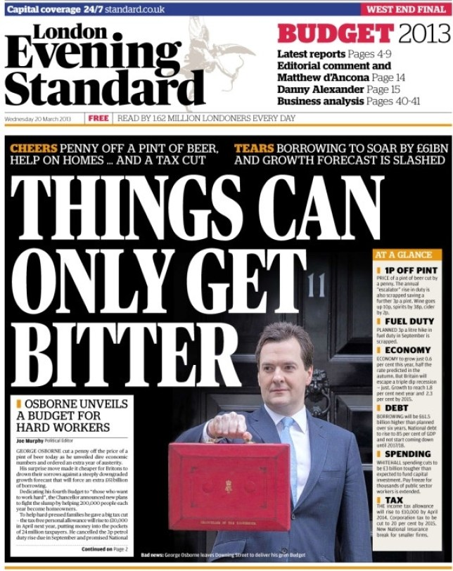 The Evening Standard tweeted its front page before George Osborne had even delivered his speech