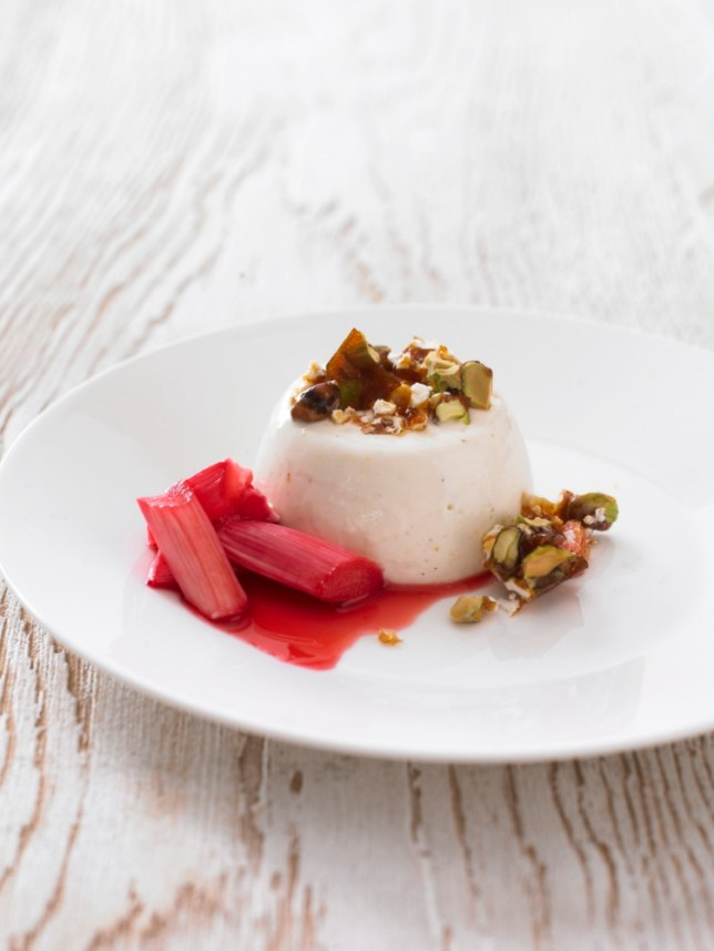 Greek Yoghurt Pannacotta with Roasted Rhubarb created by Gizzi Erskine