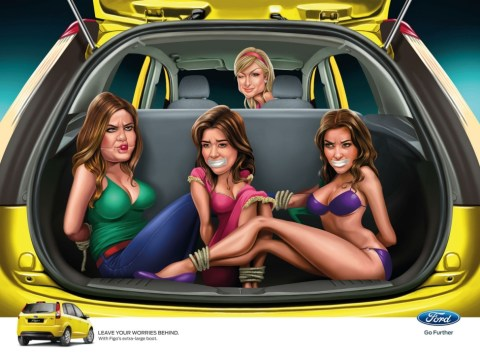 Ford sorry for Indian car adverts showing the Kardashians bound and gagged in car boot