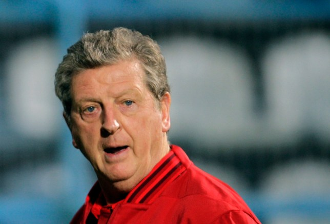 England coach Roy Hodgson watches his players train during a session ahead of their World Cup 2014 qualifying group H soccer match between England and Montenegro in Podgorica, Montenegro, Monday, March 25, 2013. Montenegro faces England on Tuesday, March 26. (AP Photo/Darko Vojinovic)
