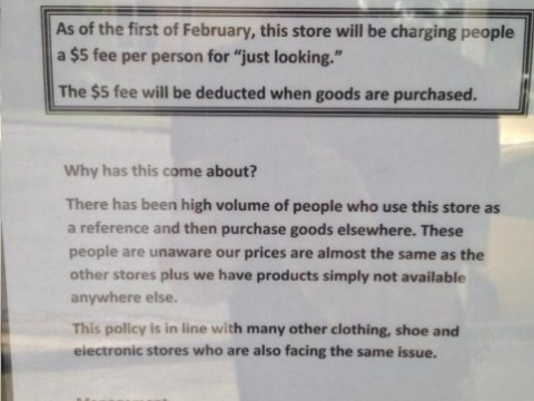 Shop in Australia charges customers $5 'looking fee'