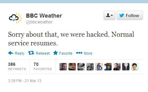 BBC Weather Twitter account hacked by Syrian government supporters – who tweet about camels