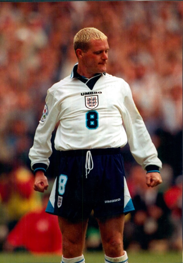 Football: European Championships 1996 - England v Spain. Final score 0-0 draw, England won 4-2 on penalties. Paul Gascoigne strikes a pose.    . REXMAILPIX.